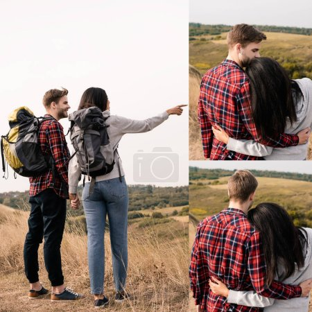 Photo for Collage of interactional couple with backpacks holding hands and hugging outdoors - Royalty Free Image