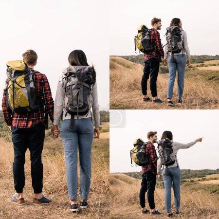 Photo pour Collage de randonneurs interracial avec sacs à dos tenant la main sur la pelouse - image libre de droit