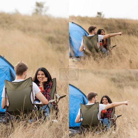 Photo for Collage of smiling african american woman with cup sitting near boyfriend and tent during trip - Royalty Free Image