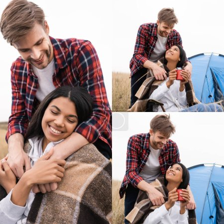 Photo for Collage of smiling man covering with blanket african american woman with cup near tent on blurred background outdoors - Royalty Free Image