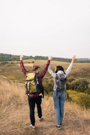 Photo pour Vue arrière de jeunes randonneurs multiethniques montrant un geste oui et tenant la main sur une pelouse herbeuse à l'extérieur - image libre de droit