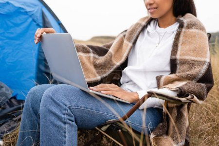 Photo for Cropped view of african american woman wrapped in blanket using laptop during camping - Royalty Free Image