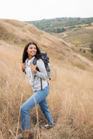 Photo for Positive african american hiker holding backpack while walking on hill with grass - Royalty Free Image