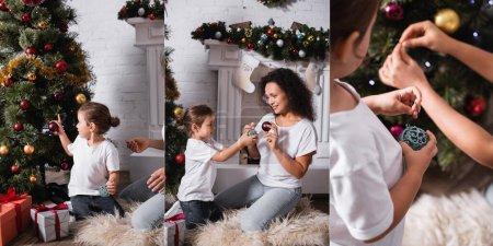 Photo pour Collage de mère et fille décoration pin près des cadeaux et cheminée - image libre de droit