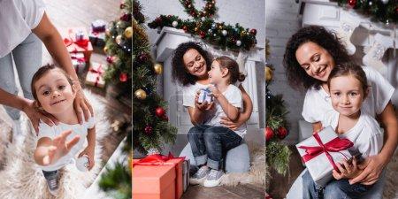 Photo pour Collage de fille et de mère avec des boîtes-cadeaux près de la cheminée à la maison - image libre de droit