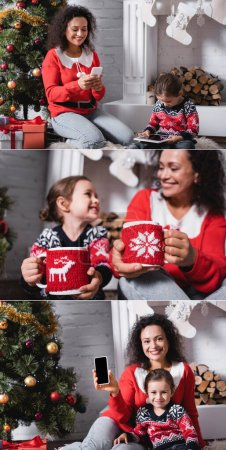 Photo for Collage of mother and daughter holding cups and using gadgets near fireplace - Royalty Free Image