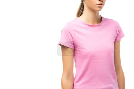 Cropped view of young woman in pink t-shirt isolated on white, concept of breast cancer