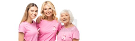 Website header of women with breast cancer awareness ribbons hugging isolated on white
