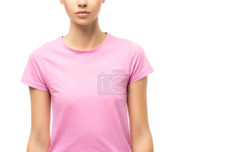 Cropped view of young adult woman in pink t-shirt isolated on white