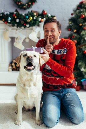 Photo pour Labrador près de l'homme joyeux en pull montrant signe de silence et tout en tenant Noël présent sur fond flou - image libre de droit