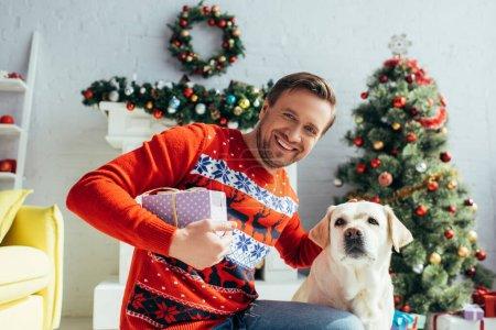 Photo pour Homme joyeux en pull câlinant labrador et tenant présent près décoré arbre de Noël - image libre de droit
