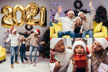 Foto de Collage de familia feliz en sombreros de santa agitando las manos, sosteniendo regalos y de pie cerca de globos con 2021 números en la sala de estar decorada - Imagen libre de derechos