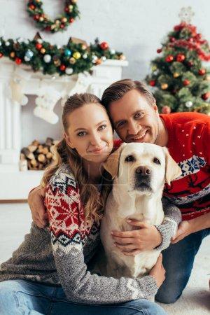 Photo pour Couple heureux en chandails tricotés embrassant labrador dans appartement décoré à Noël - image libre de droit