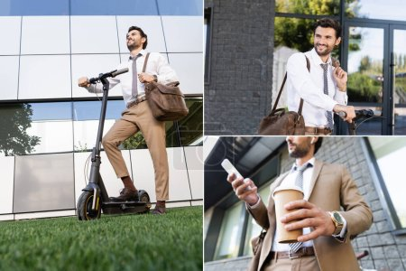 collage of businessman in wireless earphones and suit holding coffee to go and smartphone, smiling and standing near e-scooter