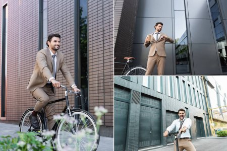 collage of businessman in suit holding coffee to go and smartphone, while looking at watch, smiling, riding bike and e-scooter