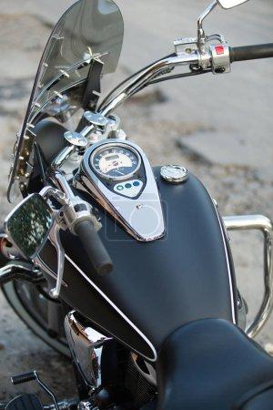 Ultra clean chopper motorbike, closeup
