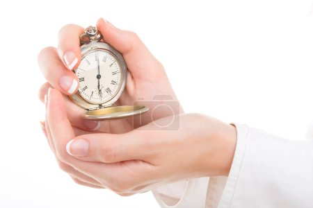Girl holding a stopwatch (pedometer), isolated on white