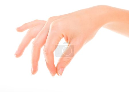 Woman hand hold virtual thing. Isolated on white.