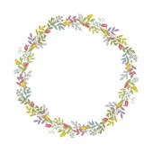 A wreath of branches leaves flowers tulips lilies of the valley and blades of grass with tendrils A color with a black outline vector Isolated on white background
