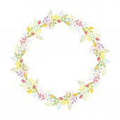 A wreath of branches leaves flowers tulips lilies of the valley and blades of grass with tendrils Color cute vectorIsolated on white background