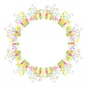 A wreath of leaves flowers and twigs Festive color vector illustration isolated design element on white background