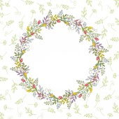 Card with vintage color wreath on the background of one-color branches leaves and tendrilsVintage vector pattern
