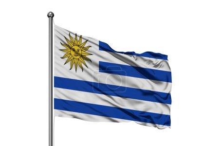 Photo pour Drapeau de l'Uruguay agitant dans le vent, fond blanc isolé. drapeau uruguayen . - image libre de droit