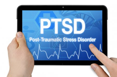 Photo for Tablet with touchcreen and PTSD post traumatic stress disorder - Royalty Free Image