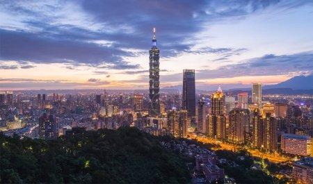 Taiwan Taipei ville vue de nuit à partir de mt.Elephant .