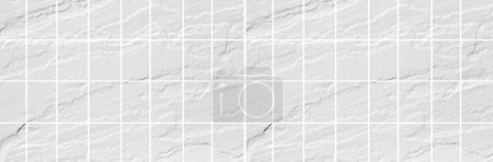 Panorama of white stone tile wall background