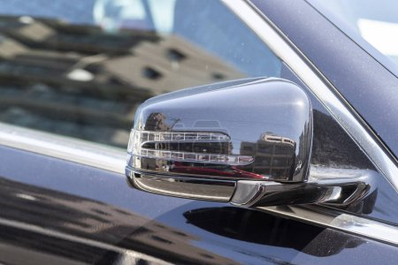 Close- up Black car mirror