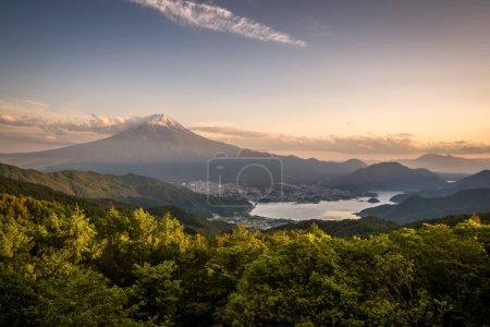 Mountain Fuji with sunset sky and Kawakuchiko lake in summer