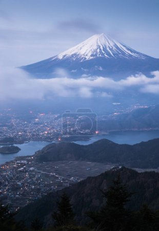 Mountain Fuji with cloud and Kawaguchiko lake in early morning seen from Shindo toge view point