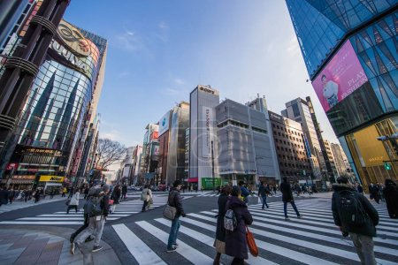 TOKYO, JAPAN - MARCH 01 , 2017 : Cityscape in Ginza District with high end retail shops