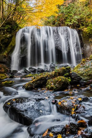 Photo for Tatsuzawafudo Falls at Fukushima in autumn - Royalty Free Image