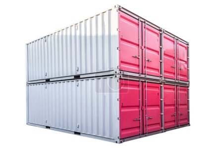 Photo for Stack of pink freight shipping container isolated on white background - Royalty Free Image