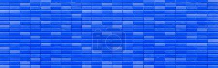 Foto de Panorama de color azul piedra ladrillo pared textura y fondo sin costuras - Imagen libre de derechos