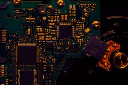 Photo for Inside computer, hardware motherboard components and circuits Technology background with computer server semiconductor processors CPU concept blue circuit board texture - Royalty Free Image