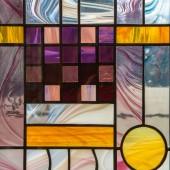 """Постер, картина, фотообои """"Витраж разноцветный на стекле абстрактный Фрактальный орнамент трендового рисунка от графических линий"""""""