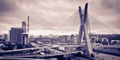 Most famous bridge in the city, Octavio Frias De Oliveira Bridge, Pinheiros River, Sao Paulo, Brazil