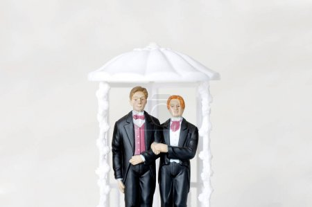 Photo for Gay marriage illustrated with two male figures - Royalty Free Image