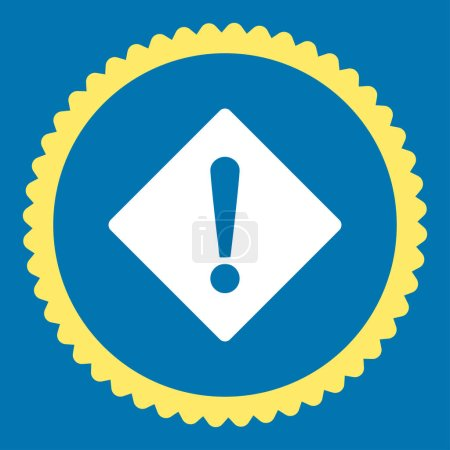 Photo for Error round stamp icon. This flat glyph symbol is drawn with yellow and white colors on a blue background. - Royalty Free Image