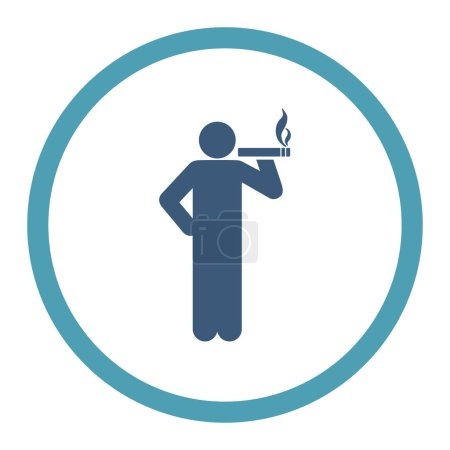 Photo for Smoking glyph icon. This rounded flat symbol is drawn with cyan and blue colors on a white background. - Royalty Free Image