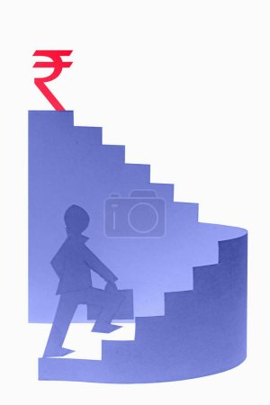 Photo for Businessman stepping up a staircase - Royalty Free Image