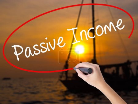 Photo for Woman Hand Writing Passive Income with a marker over transparent board. Isolated on nature. Business concept. Stock Photo - Royalty Free Image