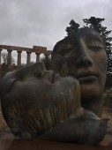 Greek temple of Agrigento with modern sculture. Sicily- Italy