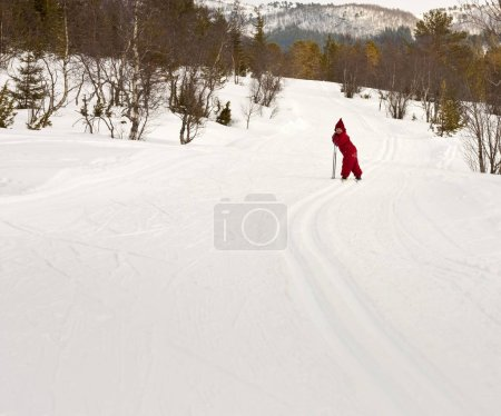 Photo for Small child (4 years old) skiing in the forest - Royalty Free Image
