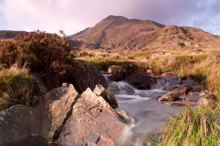 Photo for A stream in the foreground leads to the Welsh mountain peak Moel Siabod situated in the Snowdonia National park. - Royalty Free Image
