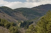 Balkan mountain over Buhovo village at spring in Bulgaria