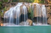Waterfall deep forest  at Erawan waterfall National Park Kanchanaburi of Thailand
